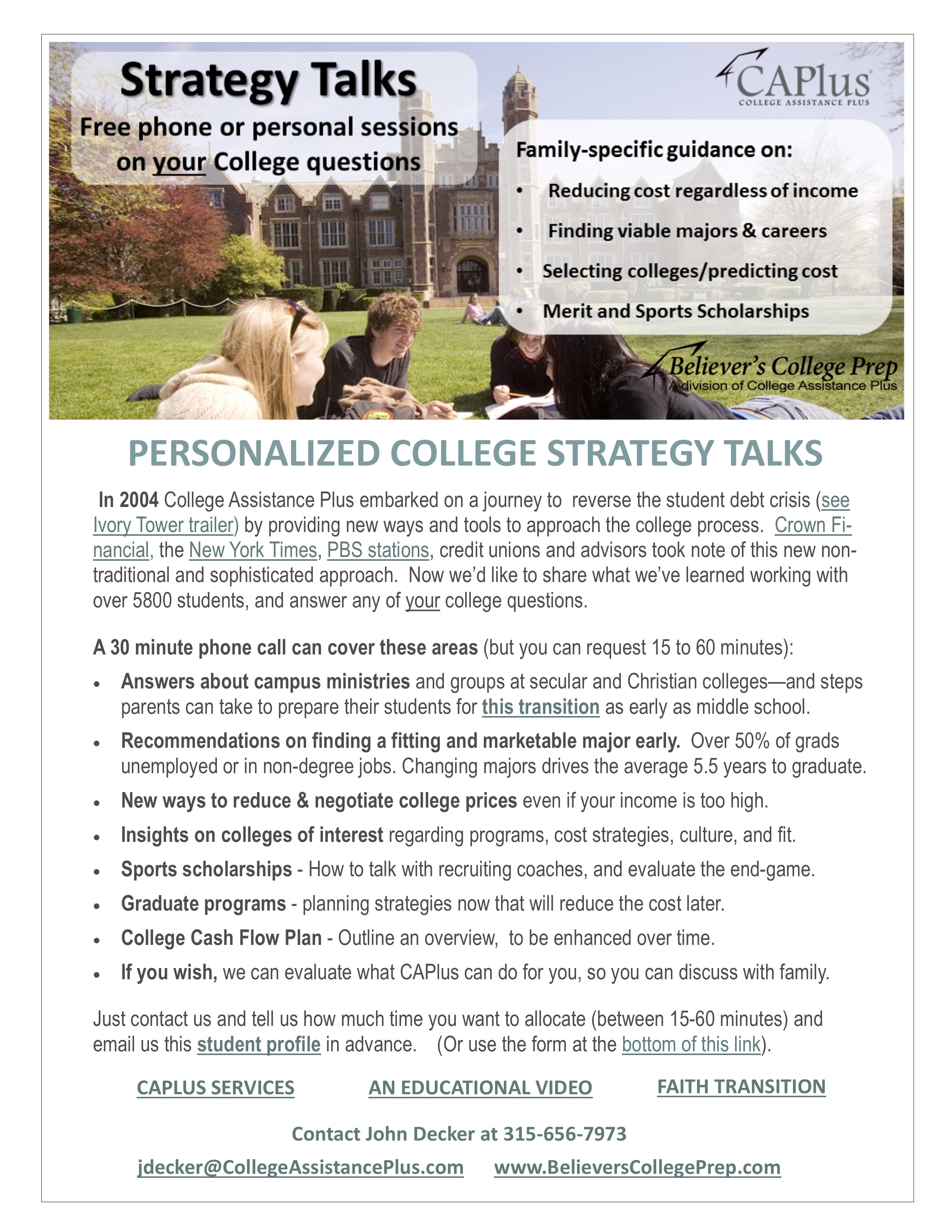 college career believer s college prep college strategy talks c2